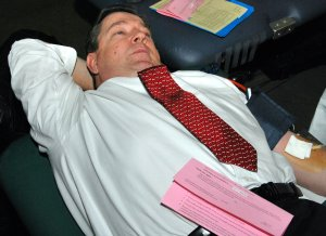 Holyoke Mayor Michael J. Sullivan donates blood during the 5th Annual Mayor's Challenge Blood Drive for the Red Cross on Tuesday.