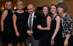 The 2009 Citizenship Award Recipient Tommy Leonard Poses with the Holyoke St. Patrick's Colleens at the Annual Awards Night.